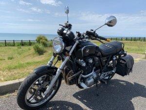 業部岬でバイク撮影
