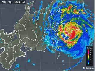 台風上陸の天気図